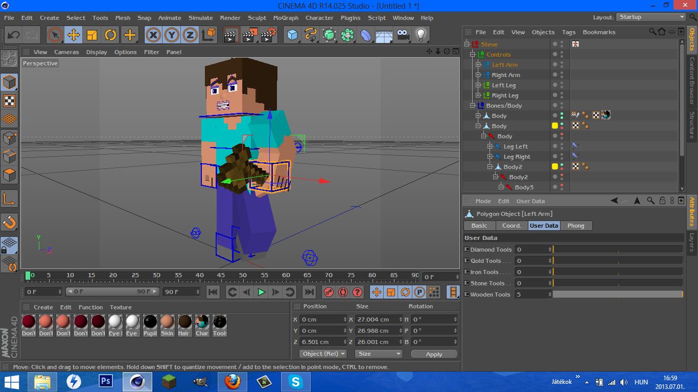 CheezzYs Steve Rig 2 3D Model in Cartoon 3DExport
