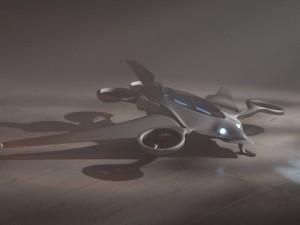 Futuristic Aircraft Scene