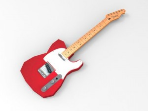 Low Poly Guitar  Fender Telecaster 3D model