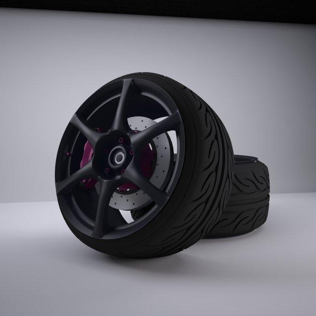 Nissan Skyline R34 GTR Rim 3D Model