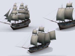 Three sailing ship