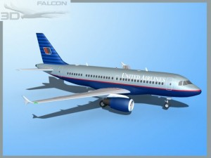 Falcon3D  A319 United Airlines