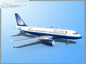 Falcon3D  A319 United Airlines 2