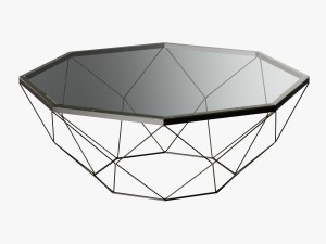 Geometric Antique Brass Coffee Table with Glass To
