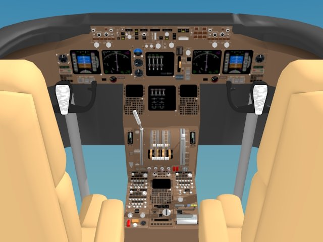 Cockpit Boeing 747 400 3D Model in Parts 3DExport