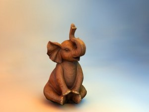 High and Low Resolution Wood Elephant Statue