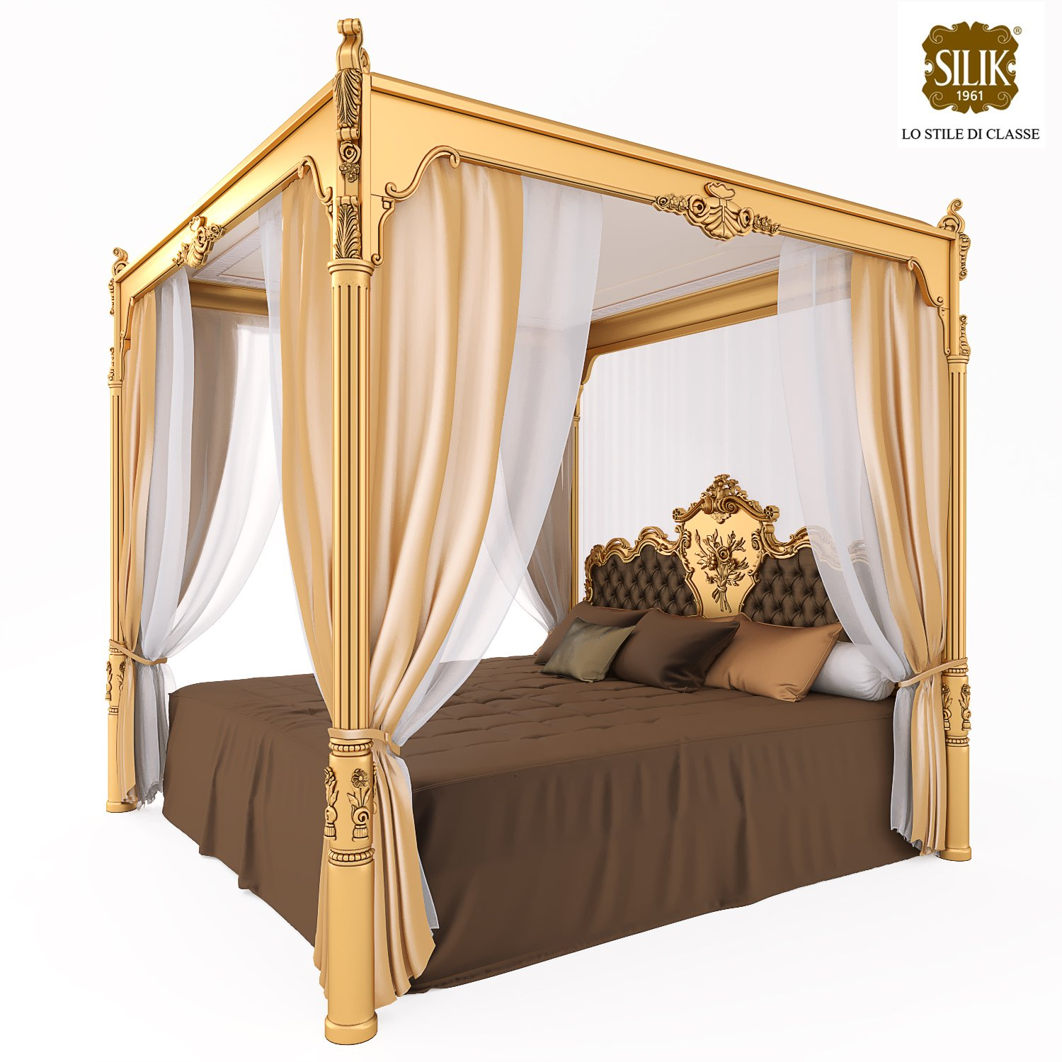 Silik Venere King Size Bed with Canopy Modèle 3D in Chambre à ...