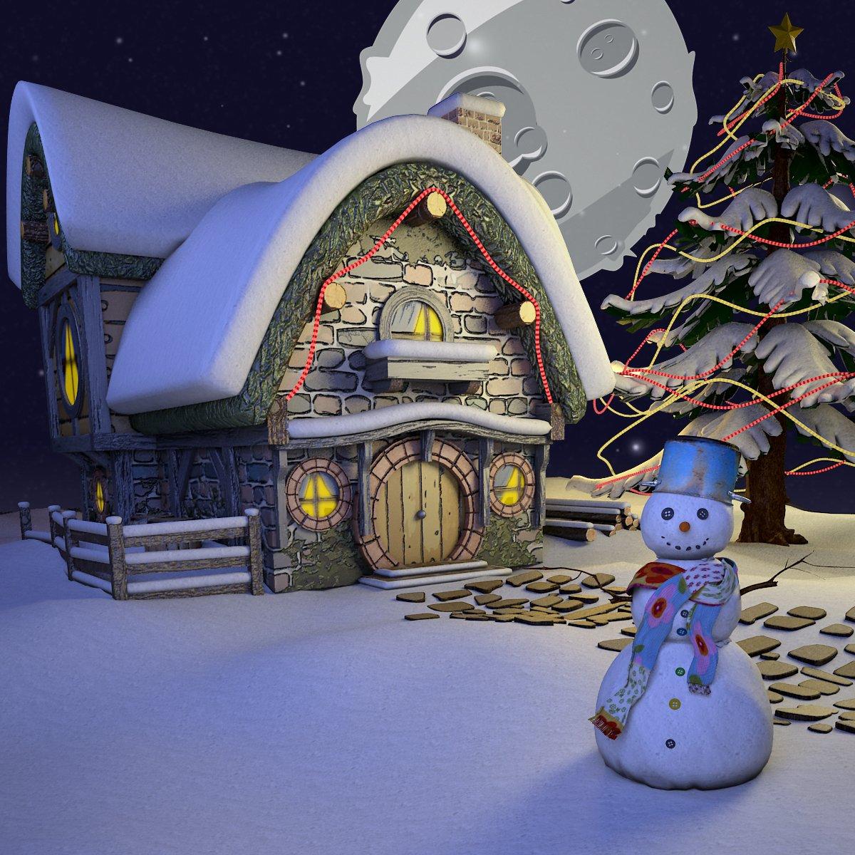 Cartoon Christmas Landscape Scene 3D Model in Fantasy 3DExport