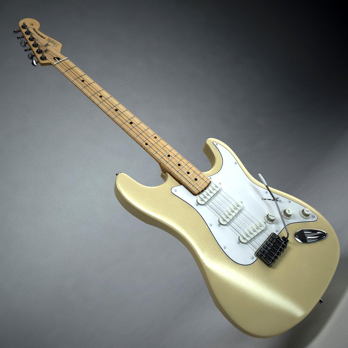 Fender Stratocaster Vintage White 3D Model