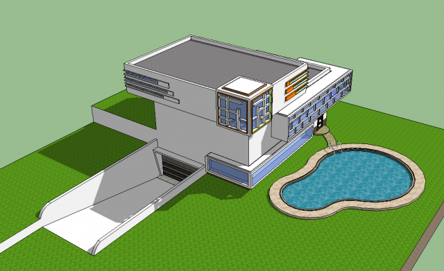 Modern House With Swimming Pool 3D Model