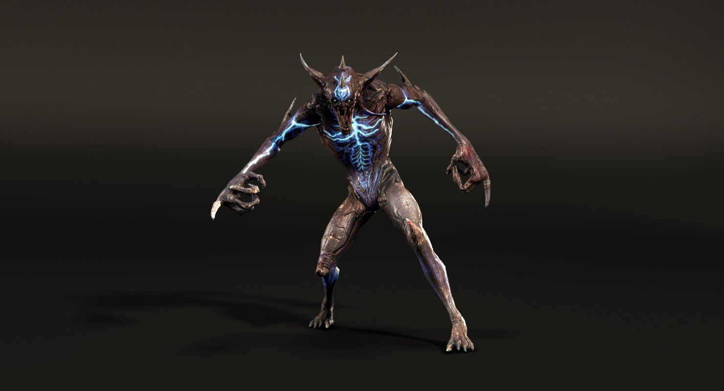 Demon Rigged 3D Model in Monster 3DExport