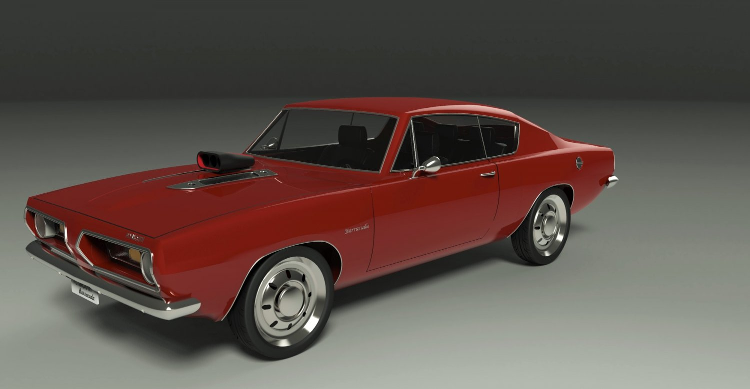 Plymouth Barracuda 3D Model in Old Cars 3DExport