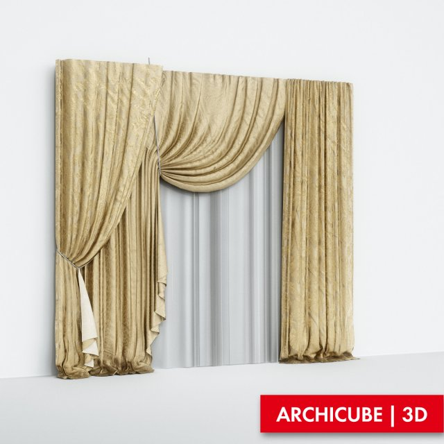 Curtains Silk 3D Model