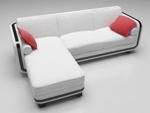 Sofa white and red