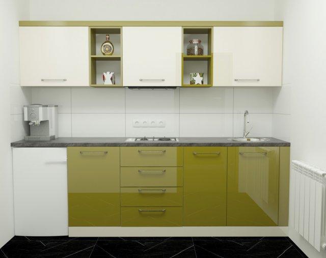 Modern Green Kitchen 3D Model in Kitchen 3DExport