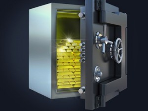 Stylish safe with gold