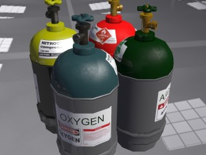 Low-poly gas cylinders pack