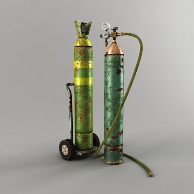 Oxygen Cylinder Low Poly 3D Model