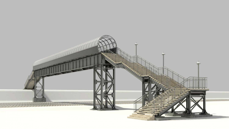 Pedestrian bridge 3D Model in Bridge 3DExport