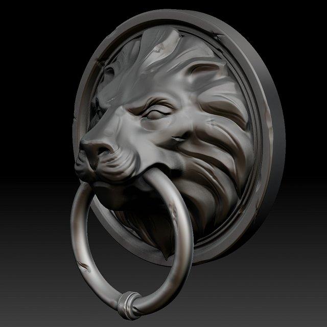 Lion Head Door Knocker Zbrush 3D Model