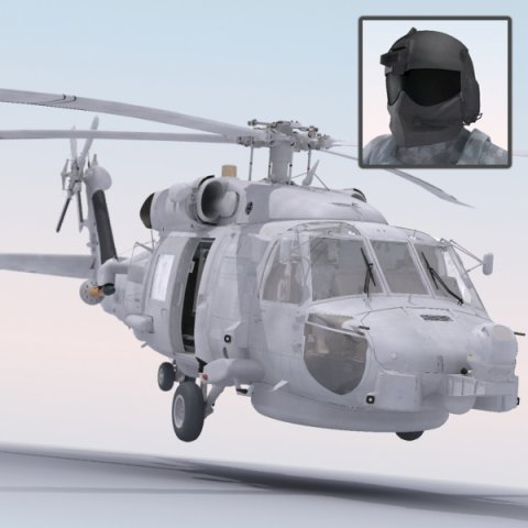 SH60 Seahawk Military Helicopter 3D Model