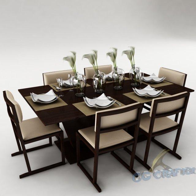Dining table set 20 3D Model