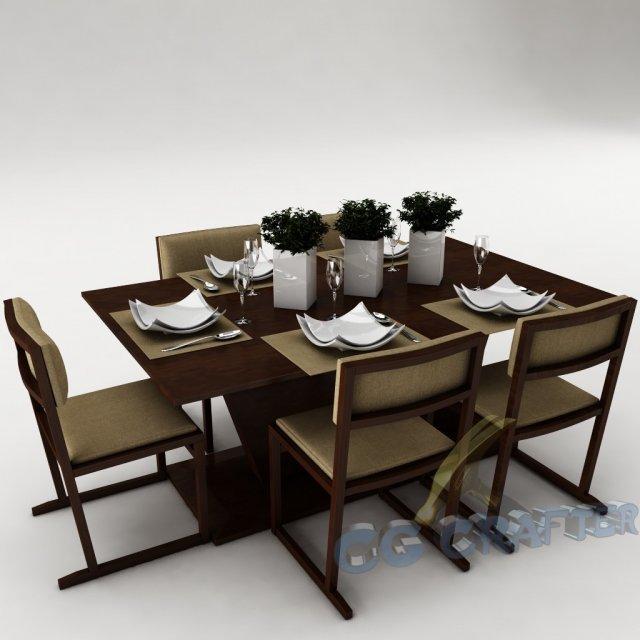Dining table set 22 3D Model