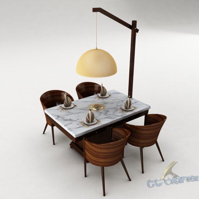Dining table set 26 3D Model