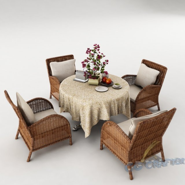 Dining table set45 3D Model