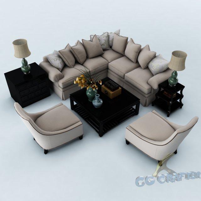 Sofa set 023 3D Model