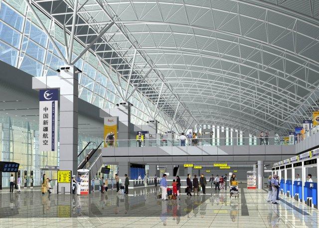 3D Models Airport Terminal Lobby 003 3D Model