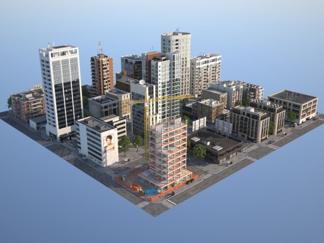 City KC1 3D Model in Steden uitzicht 3DExport