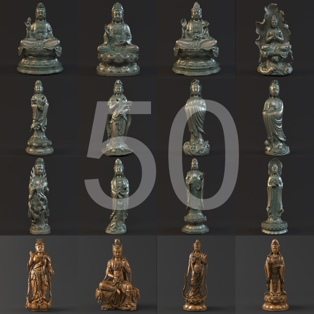 50  Kwanyin collection 3D Model