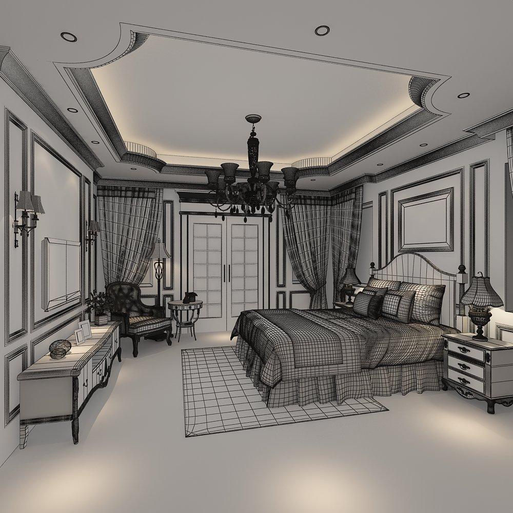 Classic Bedroom 3D Model in Bedroom 3DExport