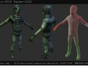 Low poly sci fi character