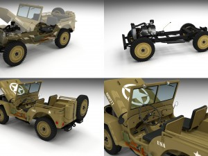 Full w chassis Jeep Willys MB Military Desert