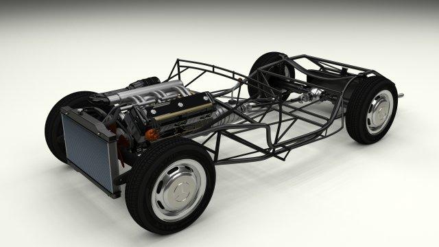 Mercedes 300SL Roadster Chassis 3D Model