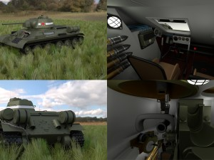 T34-76 Tank with Interior HDRI