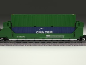Green Train Well Car w Containers