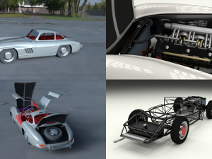 Fully Modelled-Rigged Mercedes 300SL Gullwing HDRI