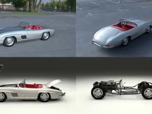 Fully Modelled Mercedes 300SL Roadster Silver HDRI