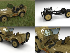 Full w chassis Jeep Willys MB Military Desert HD