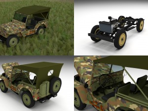 Full w chassis Jeep Willys MB Military Camo HDRI