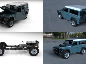 Full Land Rover Defender 90 Station Wagon HDRI