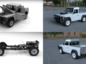 Full Land Rover Defender 90 Pick Up HDRI
