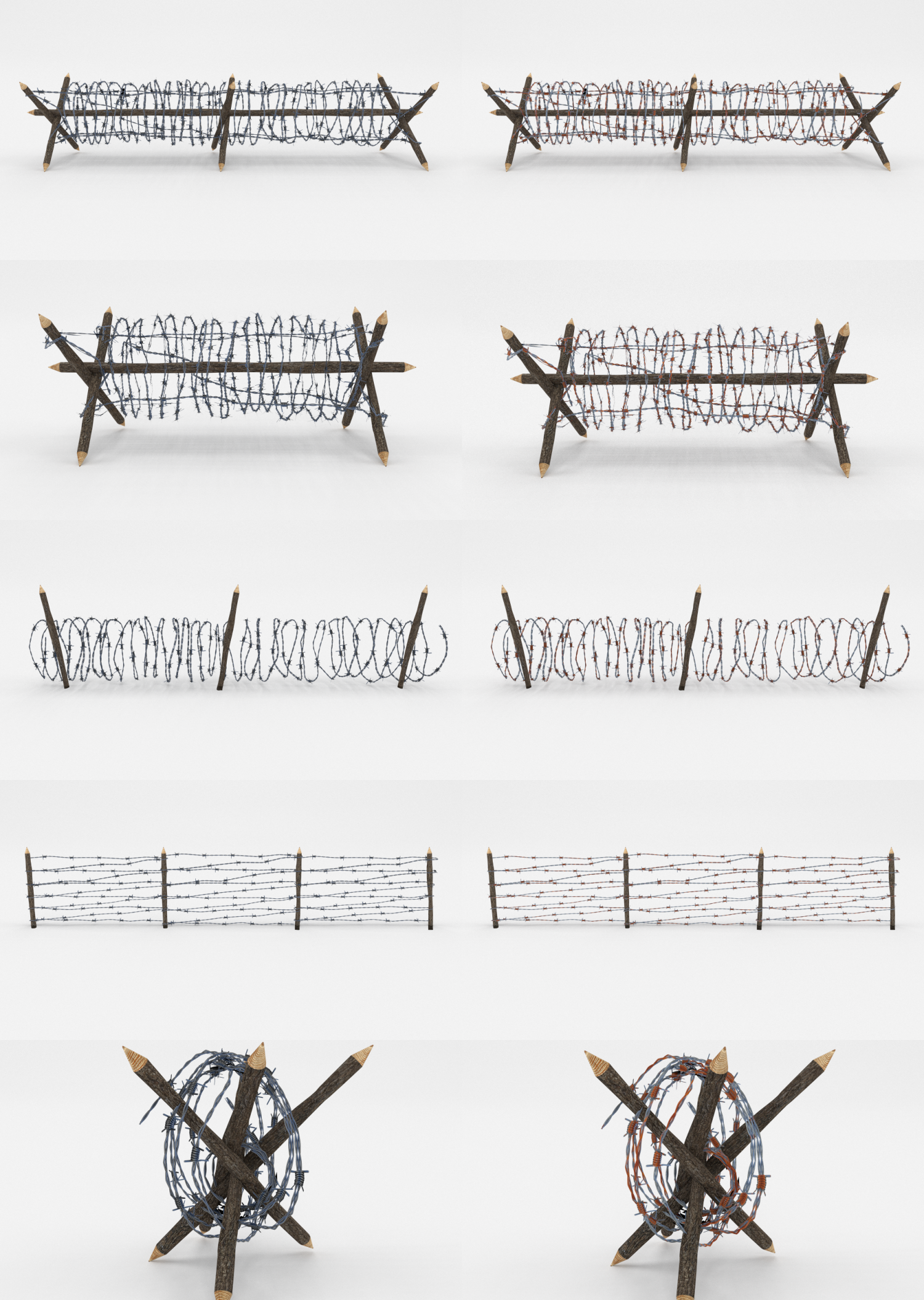 Lowpoly Barb Wire Obstacle Collection 3D Model in Miscellaneous 3DExport