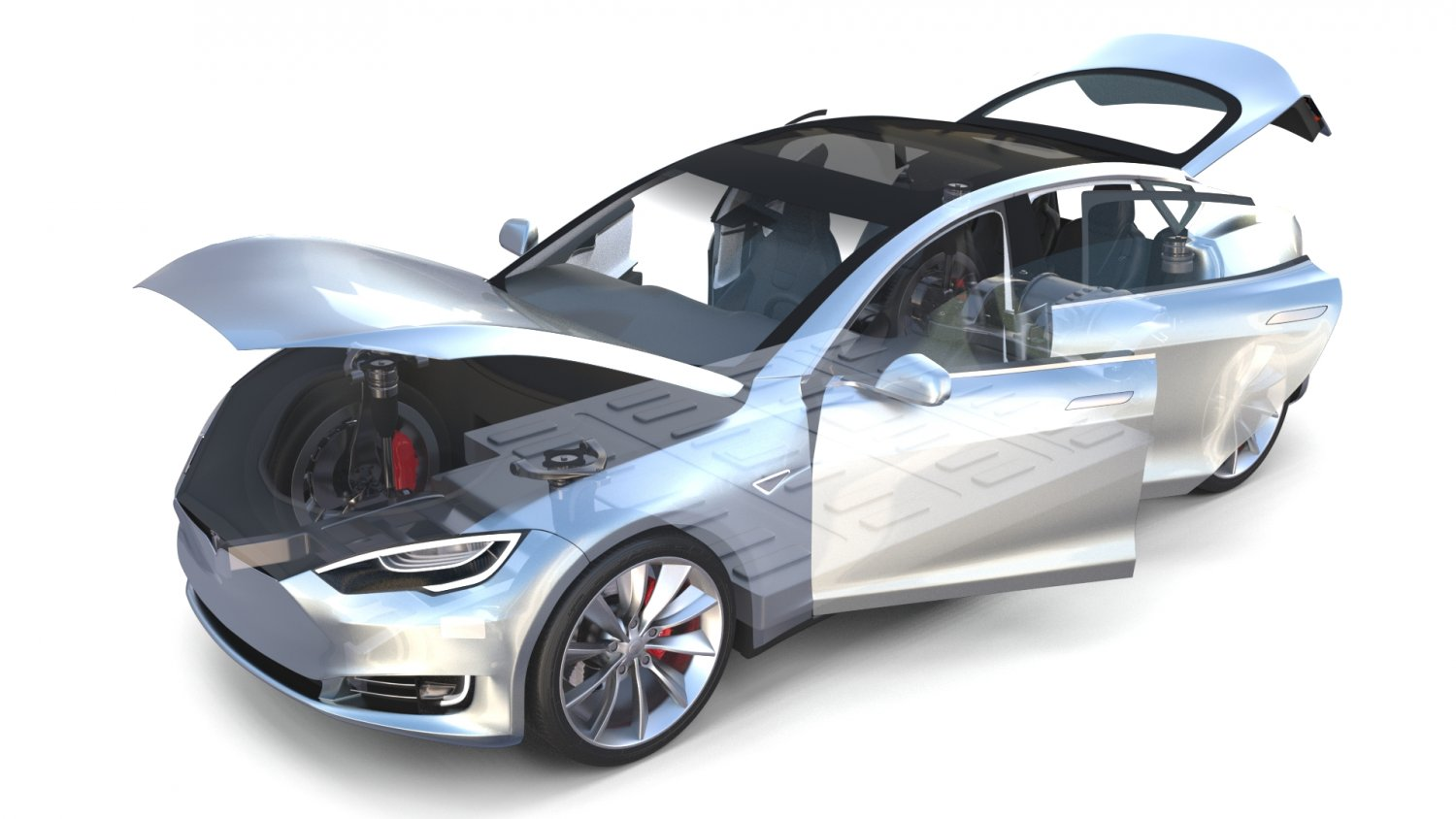 Tesla Model S 2016 Silver With Interior And Chassis Model 3D Model In  Limousine 3DExport