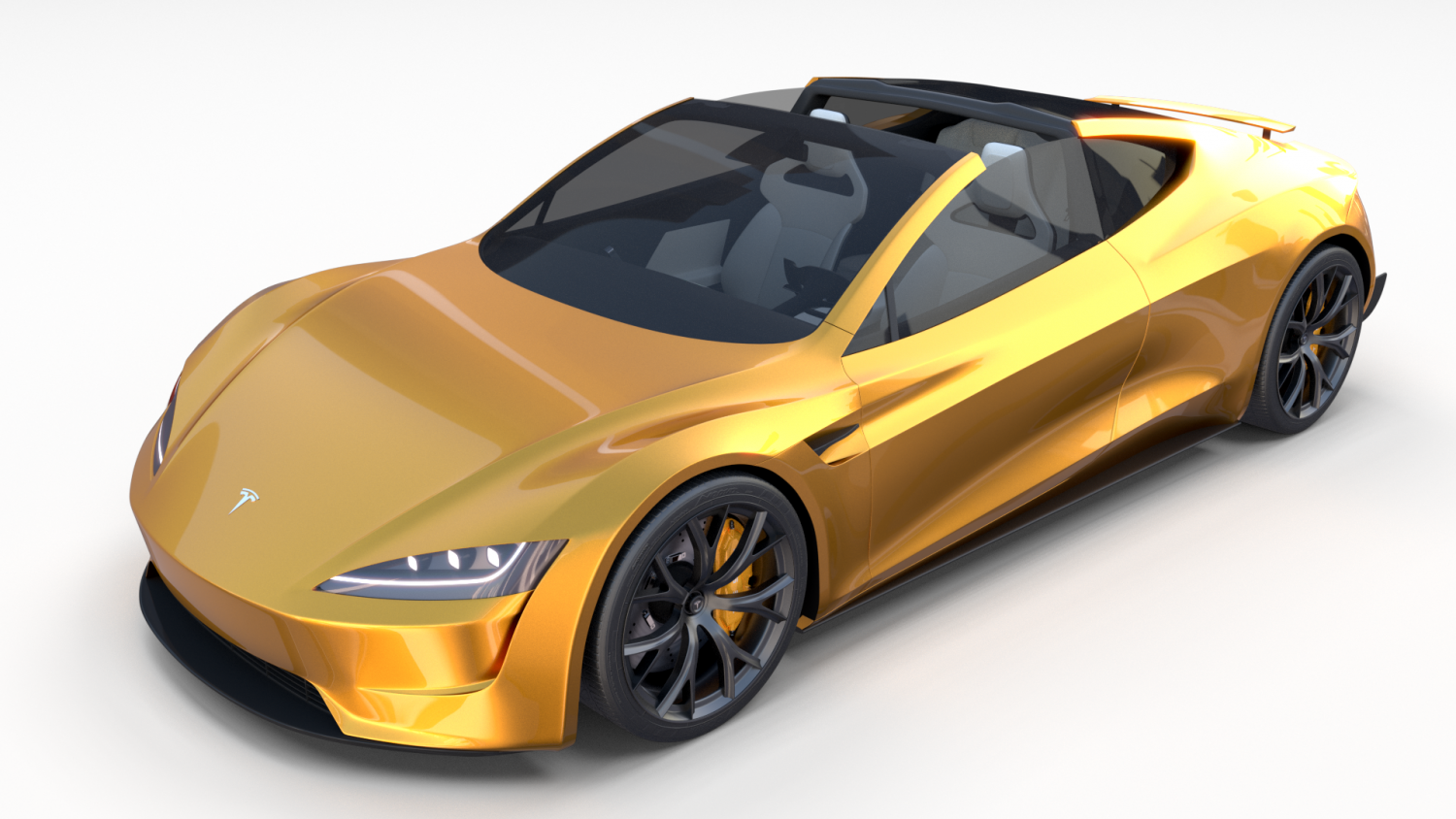 Tesla Roadster 2020 Yellow with interior and chassis 3D ...