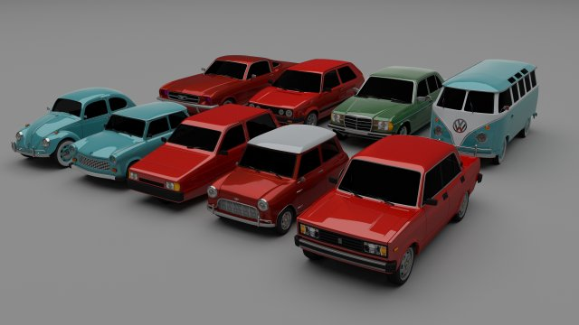 Classic Car Collection 3D Model
