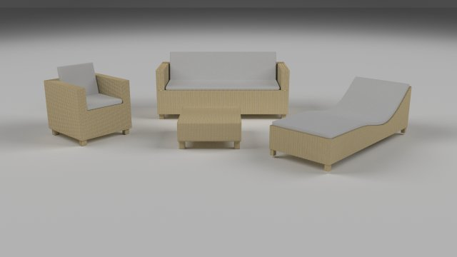 Low Poly Wicker Furniture Pack 3D Model
